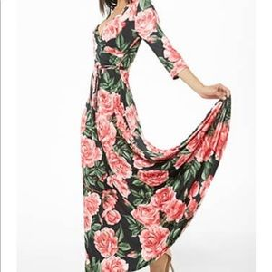 Floral Print Surplice Peasant Maxi Dress